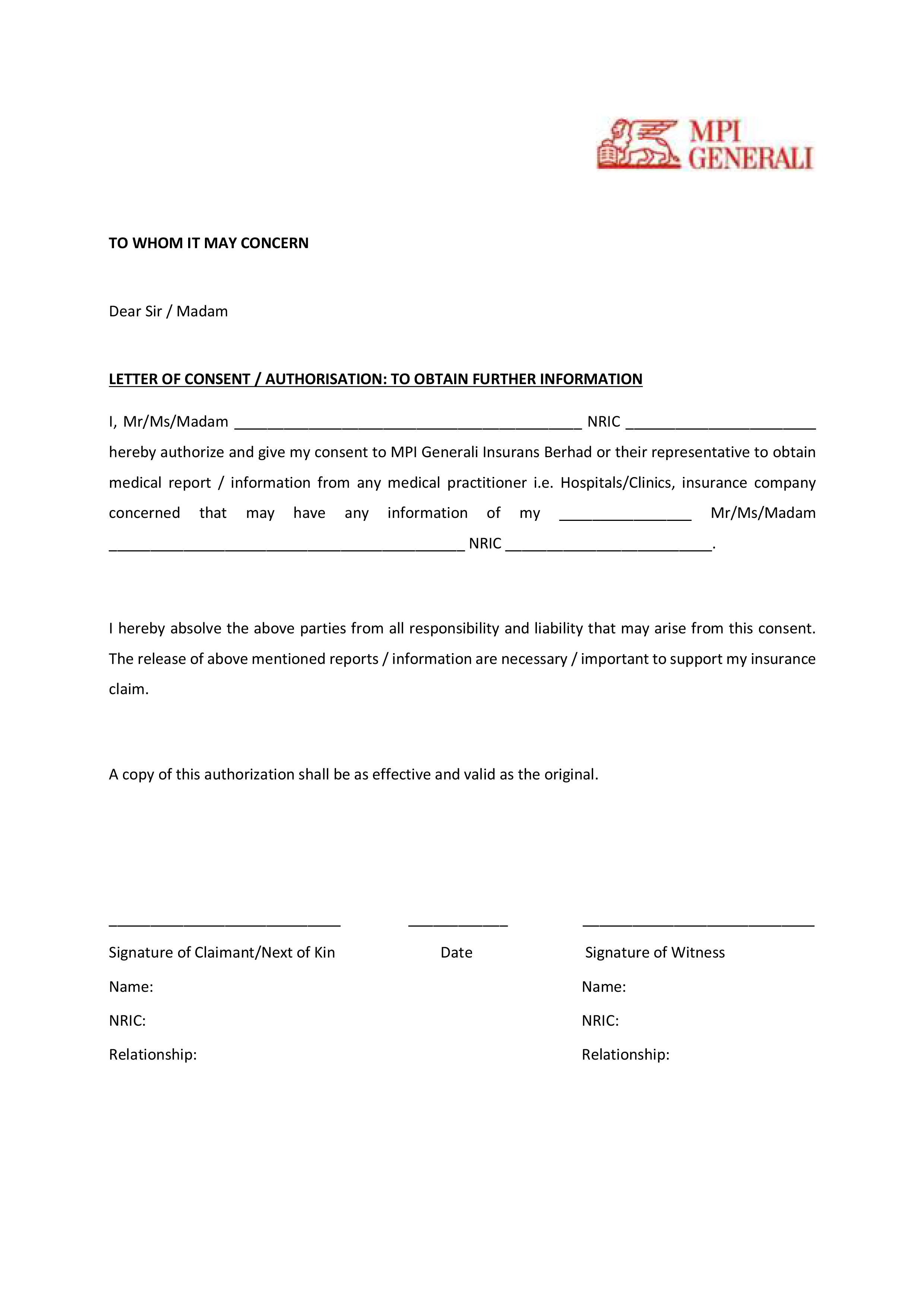 MPI Generali Consent Letter PASavers